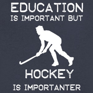 Education is important but Hockey is importanter - Men's V-Neck T-Shirt by Canvas