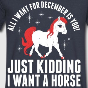 All I Want For December Horse - Men's V-Neck T-Shirt by Canvas