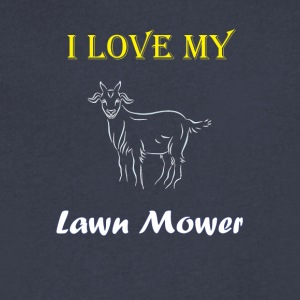 I Love my Lawn Mower Goat Tee - Men's V-Neck T-Shirt by Canvas