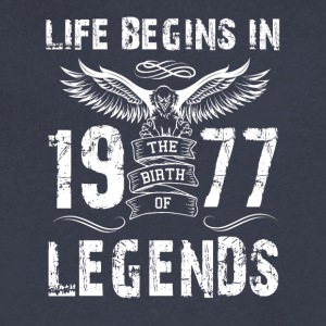 Life Begin In 1977 Legends - Men's V-Neck T-Shirt by Canvas