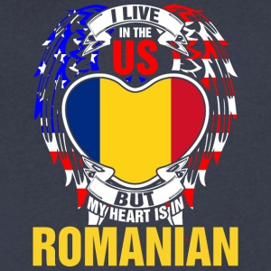 I Live In The Us But My Heart Is In Romanian - Men's V-Neck T-Shirt by Canvas
