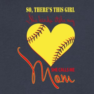 She Kinda Stole My Heart & She Calls Me Mom Shirt - Men's V-Neck T-Shirt by Canvas