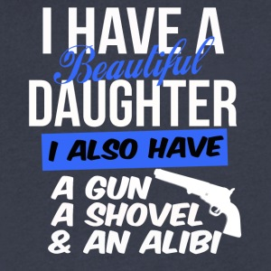 beautiful daughter also have gun shovel & alibi - Men's V-Neck T-Shirt by Canvas