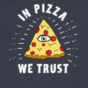 pizza illuminati Eye Pyramide Humor fun fastfood - Men's V-Neck T-Shirt by Canvas
