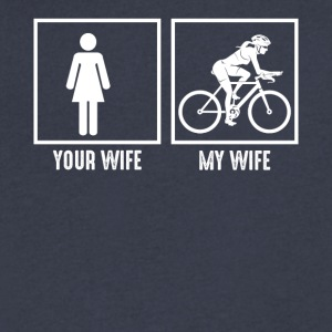 My Wife Loves Bicycling - Men's V-Neck T-Shirt by Canvas