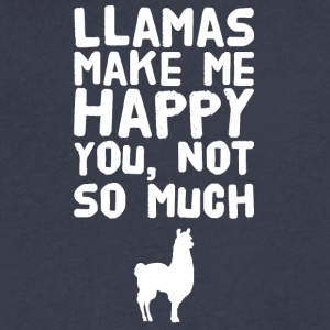Llamas make me happy you not so much - Men's V-Neck T-Shirt by Canvas