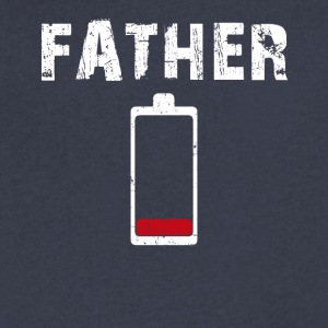 Men's Tired Father Low Battery - Men's V-Neck T-Shirt by Canvas