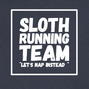 Sloth running team let's nap instead - Men's V-Neck T-Shirt by Canvas