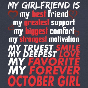 My Girlfriend Is October Girl - Men's V-Neck T-Shirt by Canvas