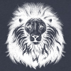 lion_with_big_hair_white - Men's V-Neck T-Shirt by Canvas
