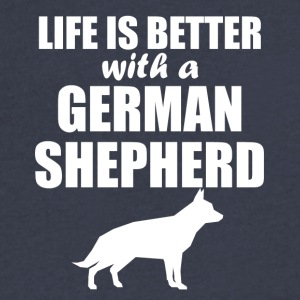 Life Is Better With A German Shepherd - Men's V-Neck T-Shirt by Canvas