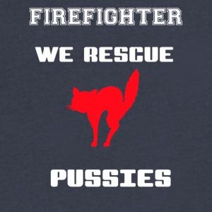 Firefighter - We Rescue Pussies - Men's V-Neck T-Shirt by Canvas