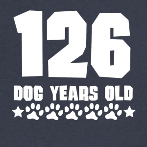 126 Dog Years Old Funny 18th Birthday - Men's V-Neck T-Shirt by Canvas