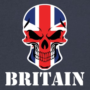 British Flag Skull Britain - Men's V-Neck T-Shirt by Canvas