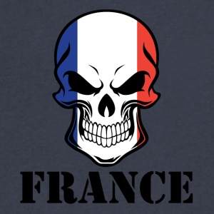 French Flag Skull France - Men's V-Neck T-Shirt by Canvas