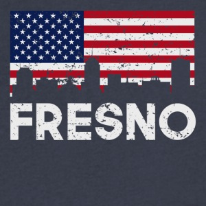 Fresno CA American Flag Skyline Distressed - Men's V-Neck T-Shirt by Canvas