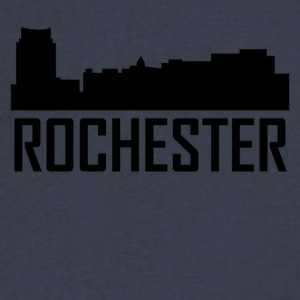 Rochester Minnesota City Skyline - Men's V-Neck T-Shirt by Canvas