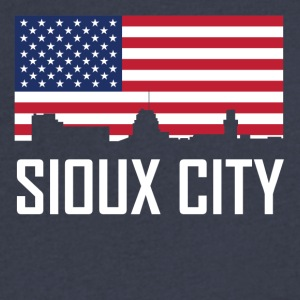 Sioux City Iowa Skyline American Flag - Men's V-Neck T-Shirt by Canvas