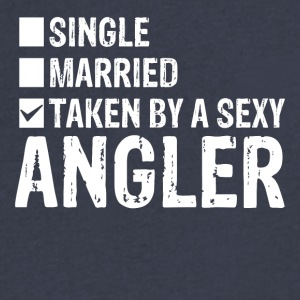 Single Married Taken by a sexy angler - Men's V-Neck T-Shirt by Canvas
