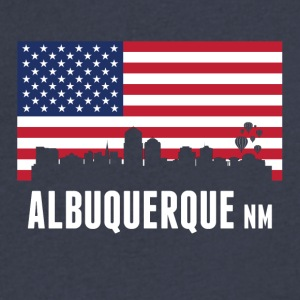 American Flag Albuquerque Skyline - Men's V-Neck T-Shirt by Canvas