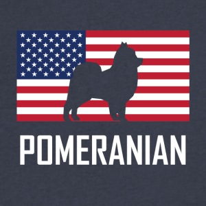 Pomeranian American Flag - Men's V-Neck T-Shirt by Canvas