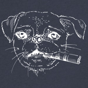 Dog_with_cigara_white - Men's V-Neck T-Shirt by Canvas