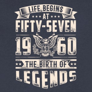 Life Begins At Fifty Seven Tshirt - Men's V-Neck T-Shirt by Canvas