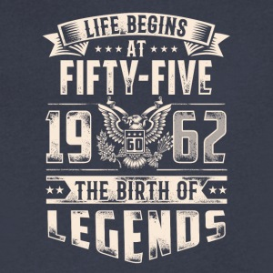 Life Begins At Fifty Five Tshirt - Men's V-Neck T-Shirt by Canvas