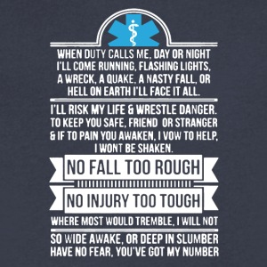 EMS Life No Injury Too Tough Shirt - Men's V-Neck T-Shirt by Canvas