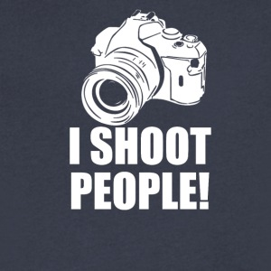 I Shoot People Funny Photographer Camera Photograp - Men's V-Neck T-Shirt by Canvas