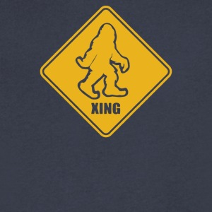 Big Foot Xing Big Foot Crossing Sasquatch - Men's V-Neck T-Shirt by Canvas