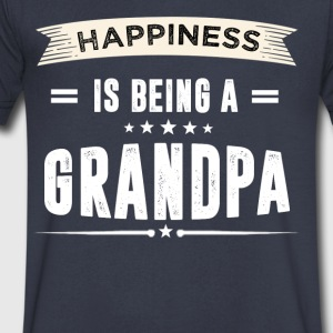 Happiness Is Being A GRANDPA - Men's V-Neck T-Shirt by Canvas