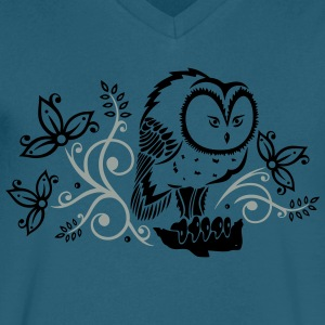 Owl with flowers and leaves. - Men's V-Neck T-Shirt by Canvas