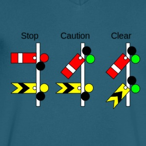 Railway Signs - Men's V-Neck T-Shirt by Canvas