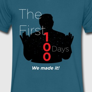 Our First 100 Days -We made it! - Men's V-Neck T-Shirt by Canvas