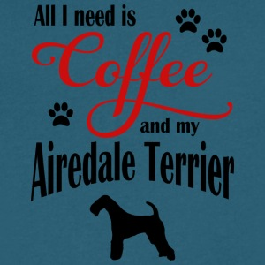 Airdale Terrier Coffee - Men's V-Neck T-Shirt by Canvas