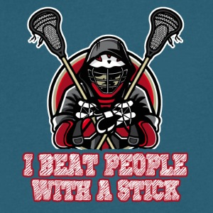 Lacrosse I Beat people With A Stich Shirt - Men's V-Neck T-Shirt by Canvas