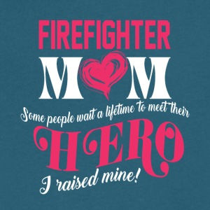 Firefighter's Mom I Raised Mine Hero T Shirt - Men's V-Neck T-Shirt by Canvas