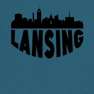 Lansing MI Cityscape Skyline - Men's V-Neck T-Shirt by Canvas