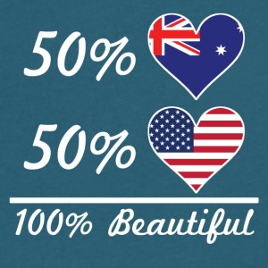 50% Australian 50% American 100% Beautiful - Men's V-Neck T-Shirt by Canvas