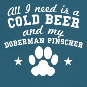 All I Need Is Cold Beer And My Doberman Pinscher - Men's V-Neck T-Shirt by Canvas