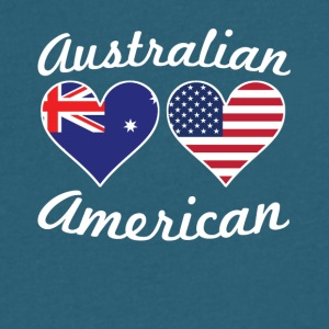 Australian American Flag Hearts - Men's V-Neck T-Shirt by Canvas