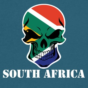 South African Flag Skull South Africa - Men's V-Neck T-Shirt by Canvas