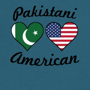 Pakistani American Flag Hearts - Men's V-Neck T-Shirt by Canvas