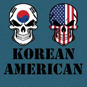 Korean American Flag Skulls - Men's V-Neck T-Shirt by Canvas