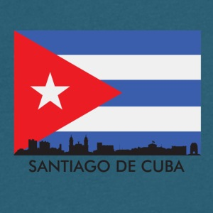 Santiago De Cuba Skyline Cuban Flag - Men's V-Neck T-Shirt by Canvas