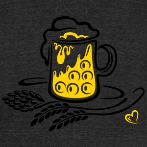 Beer glass with hops, cereals and heart - Unisex Tri-Blend T-Shirt by American Apparel