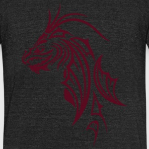 Dragon head in Tribal and Tattoo style. - Unisex Tri-Blend T-Shirt by American Apparel
