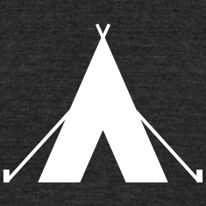 tent - camp - camping fire - Unisex Tri-Blend T-Shirt by American Apparel