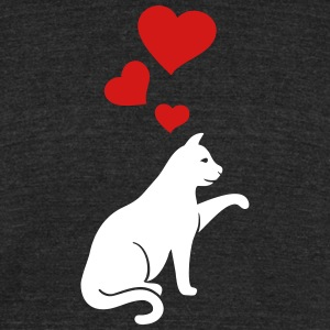cat with hearts - Unisex Tri-Blend T-Shirt by American Apparel